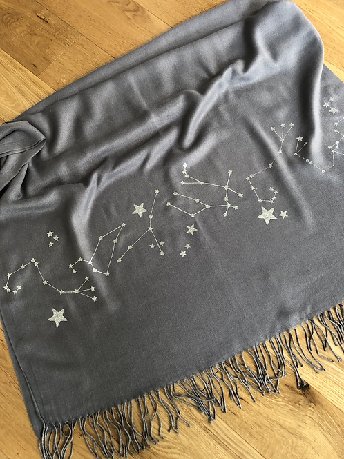 STAR SIGN CONSTELLATION PRINT PASHMINA ON EDGING