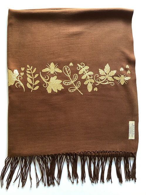 BROWN PASHMINA WITH GOLD GLITTER EMBELLISHMENT (A leafy Time)