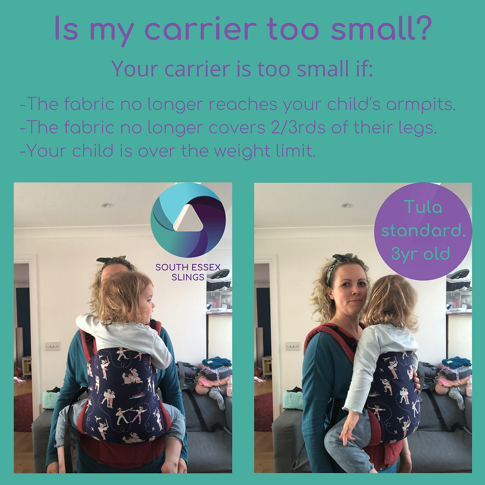 A toddler being carried in a Tula baby carrier that is too small for them.
