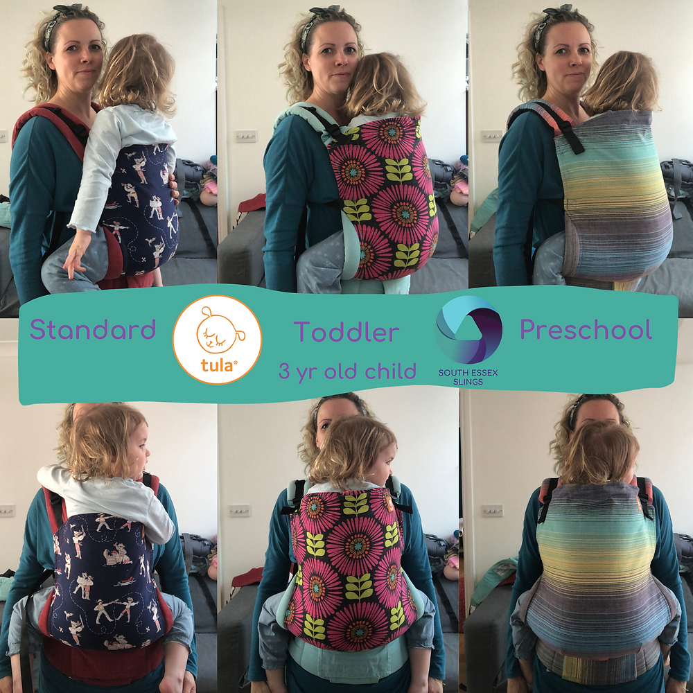 A toddler being carried in 3 different sizes of Tula baby carrier