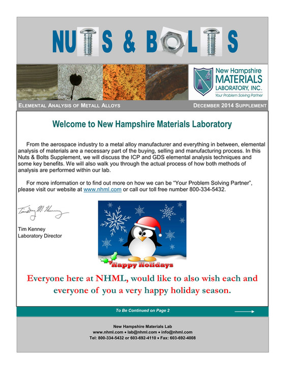 Nuts and Bolts Newsletter: December 2014, Supplement Issue