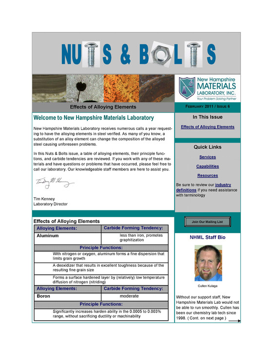 Nuts and Bolts Newsletter: February 2011, Issue 6