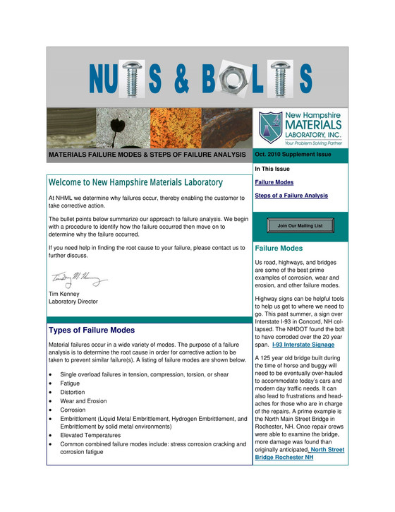 Nuts and Bolts Newsletter: October 2010, Supplement Issue