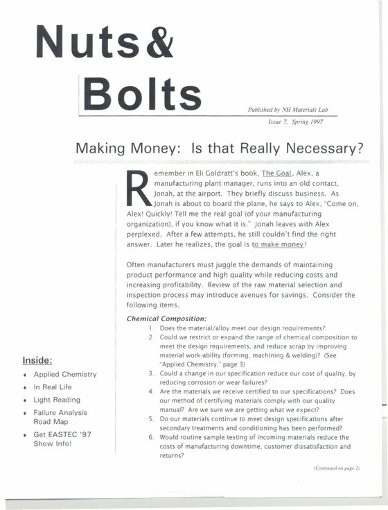 Nuts and Bolts Newsletter: May 1997, Issue 7