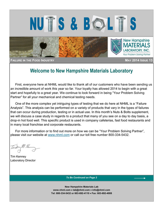 Nuts and Bolts Newsletter: May 2014, Issue 13