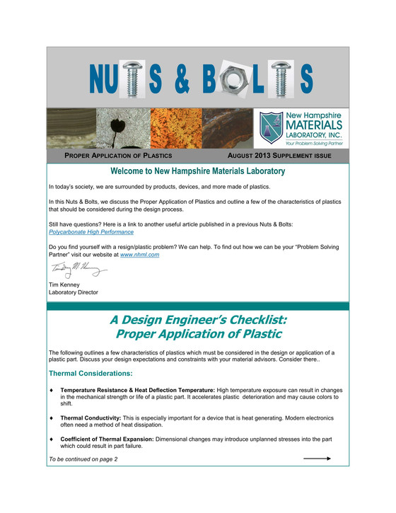 Nuts and Bolts Newsletter: August 2013, Supplement Issue