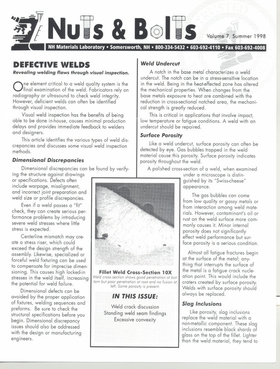 Nuts and Bolts Newsletter: July 1998, Vol. 7