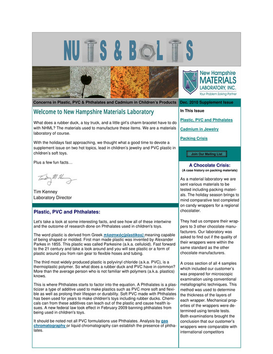 Nuts and Bolts Newsletter: December 2010, Supplement Issue