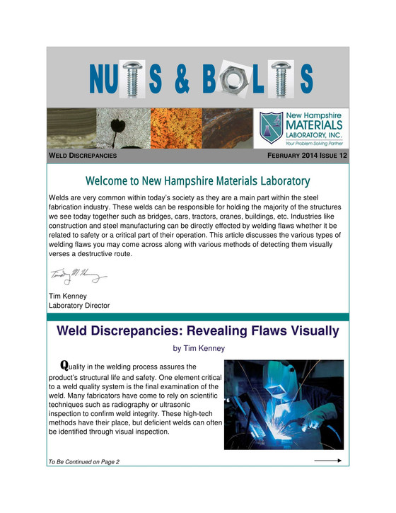Nuts and Bolts Newsletter: February 2014, Issue 12