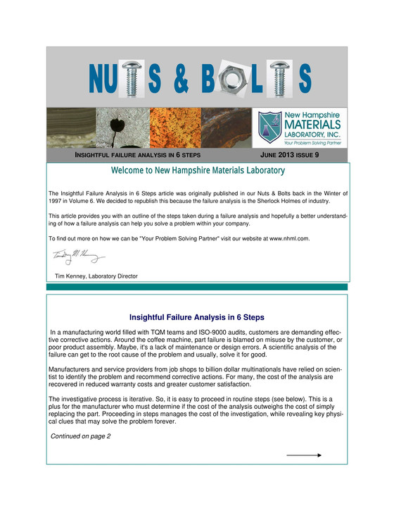 Nuts and Bolts Newsletter: June 2013, Issue 9