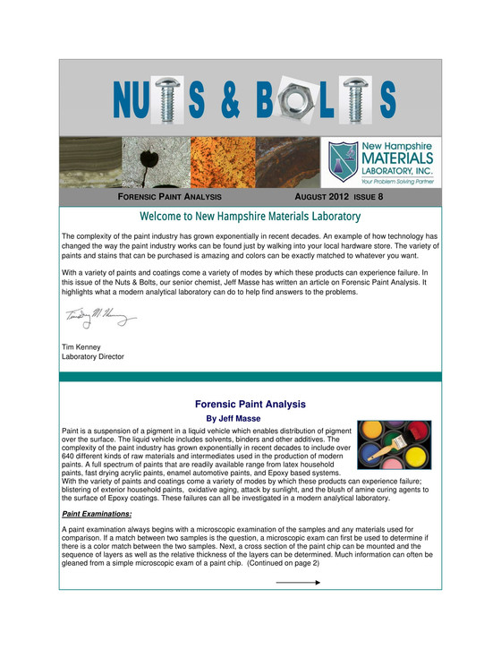 Nuts and Bolts Newsletter: August 2012, Issue 8