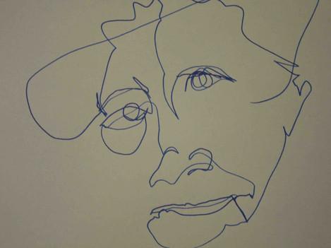 Blind tekenen in een vloeiende lijn met een dunne stift