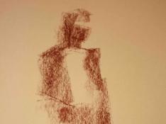 Het vatten van een volledig figuur met de vlakke kant van een contékrijtje