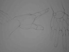 Handen herleiden tot geometrische vormen in potlood