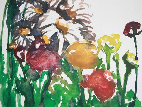 Impressie van bloemen in aquareltechniek