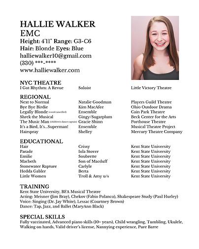 HALLIE WALKER EMC Hair Parade Emilie Stonewater Rapture Macbeth Little Women Hedda Gabler