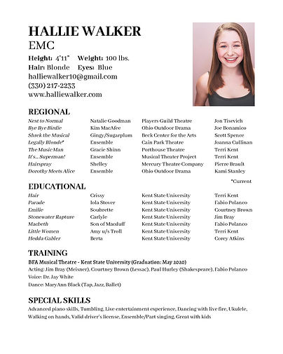 Copy of HALLIE WALKER - Showcase Resume