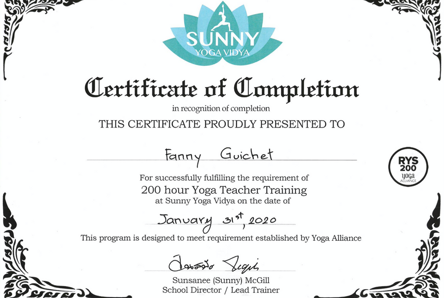 Certificat de formation Hatha Vinyasa Yoga (Yoga Alliance)