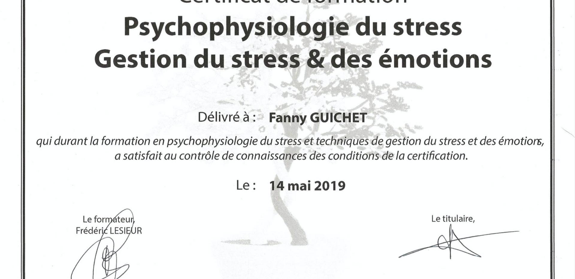 Certificat de formation Psychophysiologie du stress