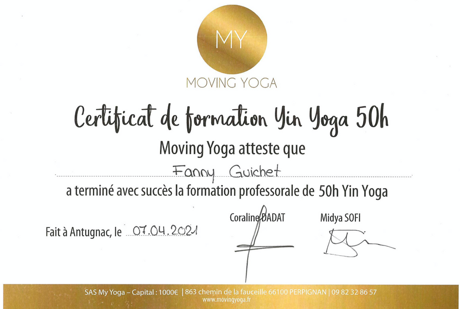 Certificat de formation Yin yoga 50h