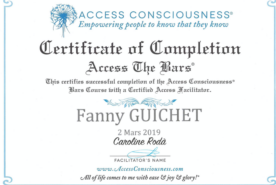 Certificat de formation Access Bars®