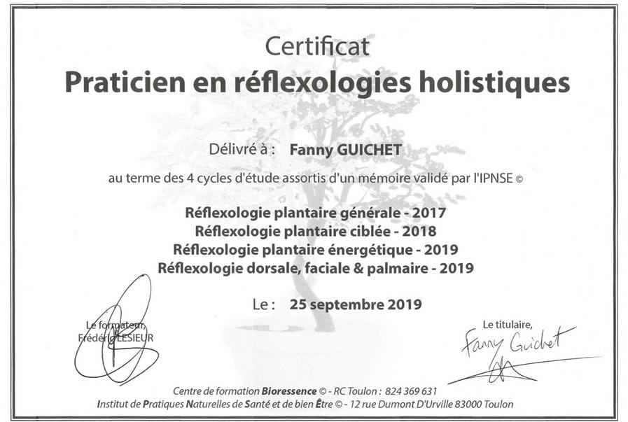 Certificat Praticienne en réflexologies holistiques