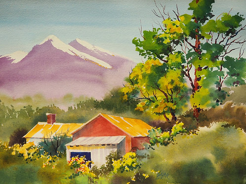 Red Barn with Mountains
