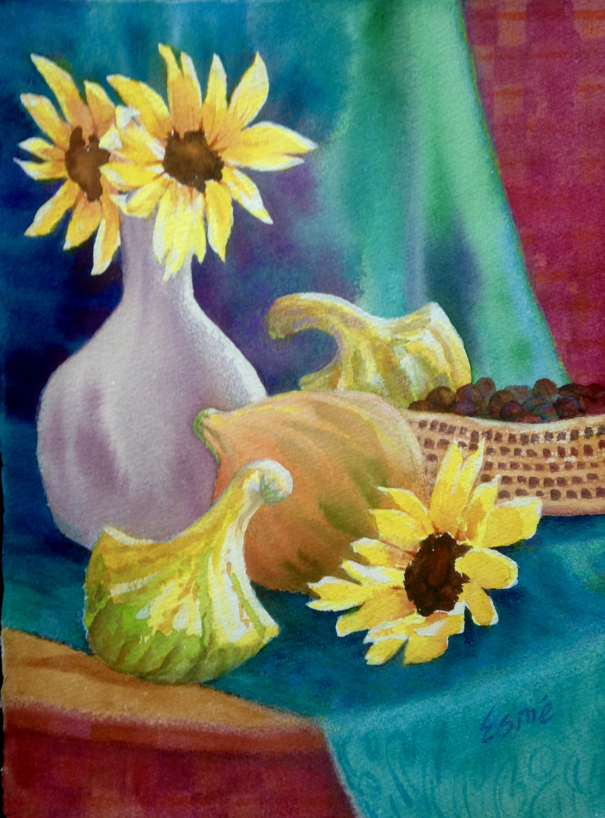 Crookneck with Sunflowers