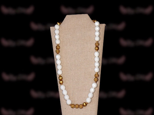 Sparkly White Beads Gold Roses Necklace