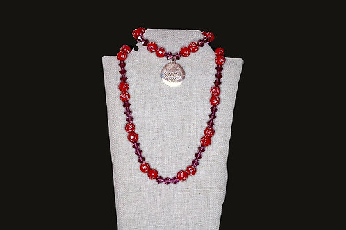 Cardinal Red Starred Amethyst Bicone Set