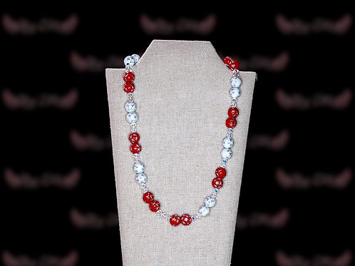 Cardinal Red White Starred Czech Crystal Necklace