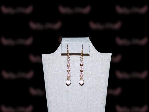 Golden Pink Hearts Earings