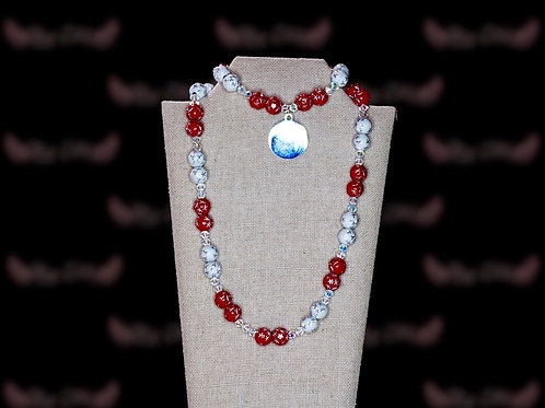 Cardinal Red White Starred Czech Crystal Set