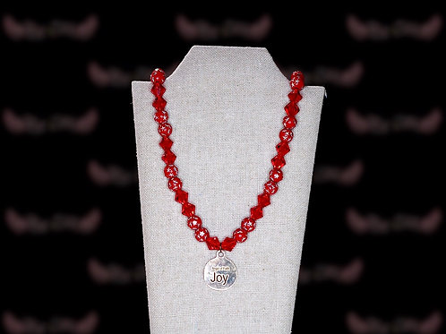 Cardinal Red Star Czech Crystal Necklace