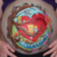 Introduce baby with a unique piece of prenatal Belly art or extend on from this to become a body art piece.  It would make a statement canvas for the nursery or baby album.  Melanie Hughes @ Embellish Face and Body Art will create a design stylised to your individual taste.  Or allow Melanie to create a design intuitively.