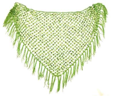 Lime Green Sequins Crochet Net Scarf - SCFC19