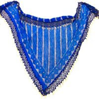 Blue Assuit Scarf with Beaded Fringe - BASF601