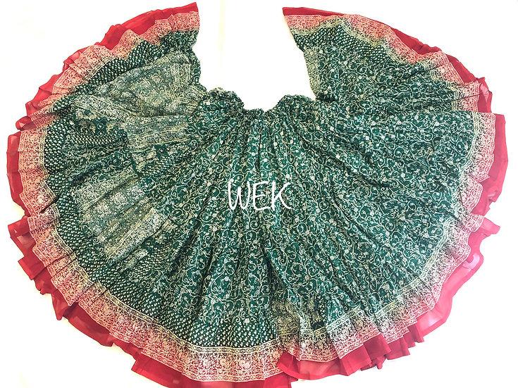 25 Yard Special Saree Sari Skirt - Green - TSCS706