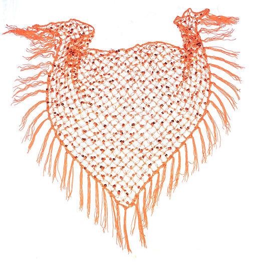 Orange Sequins Crochet Net Scarf - SCFC1