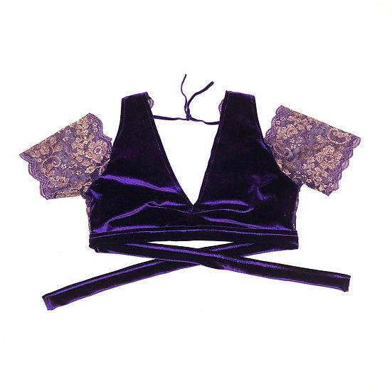 Purple Drop Shoulder Velvet and Lace Choli - Size M - DSC1000