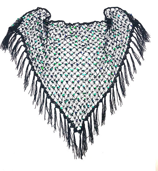 Black with Blue Iridescent Sequins Crochet Net Scarf - SCFC7