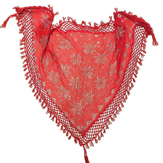 Red Assuit Scarf with Beaded Fringe - BASF801