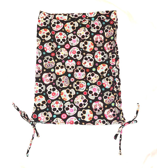 Ruched Mini Skirt - Sugar Skulls Print - S - RMNS800
