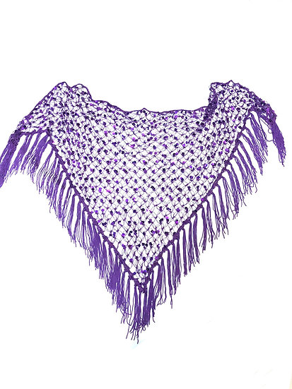 Purple Sequins Crochet Net Scarf - SCFC10