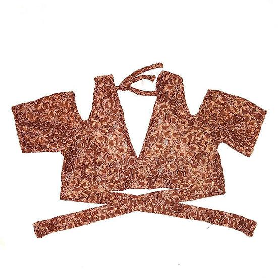 Rust Floral Stretch Lace Drop Shoulder Choli - Size S - DSC401