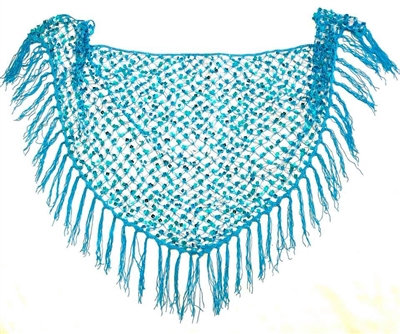 Turquoise Sequins Crochet Net Scarf - SCFC3