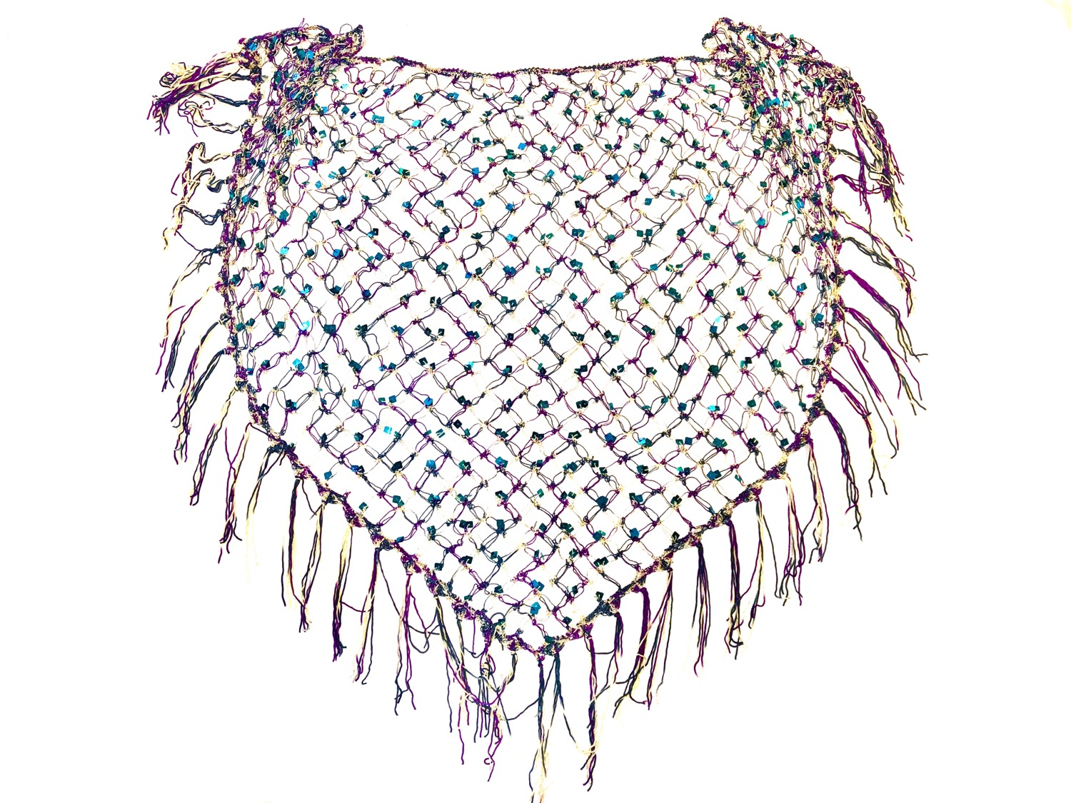 Multi Color Sequins Crochet Net Scarf - SCFC20