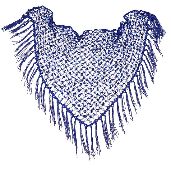 Blue Sequins Crochet Net Scarf - SCFC4