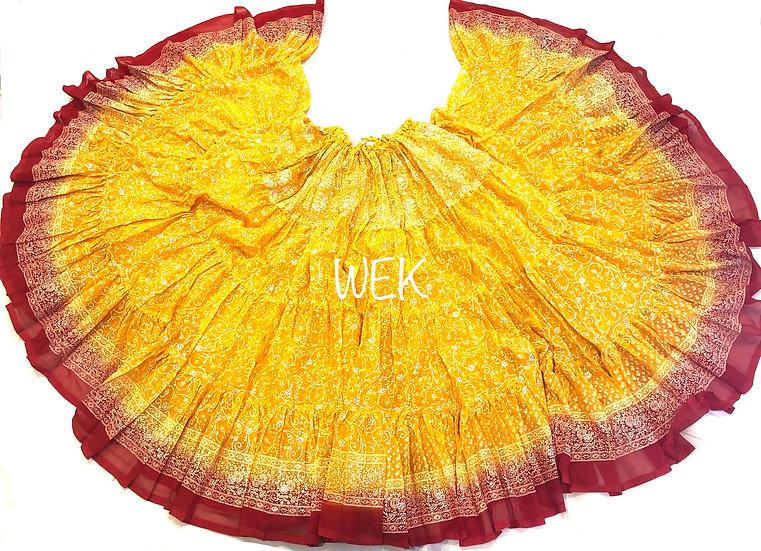 25 Yard Special Saree Sari Skirt - Yellow - TSCS708