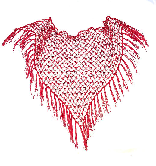 Red Sequins Crochet Net Scarf - SCFC11